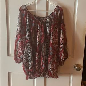 Sheer patterned daisy fuentes blouse